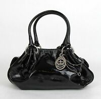 Juicy Couture Black Patent Leather Fluffy Handbag W/mirror Yhru1923 001 on sale