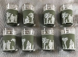 Set Of 8 Vintage Grecian Pattern Juice Glasses W 22k Gold Trim In
