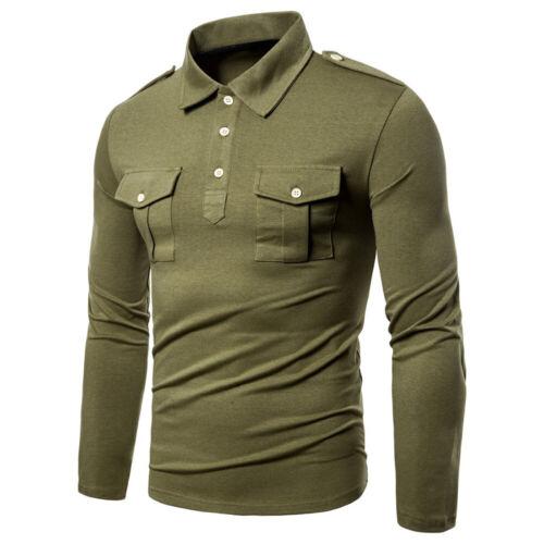 Mens Slim Long Sleeve T-Shirt Quarter Button Collared Top Tee Shirts Blouse