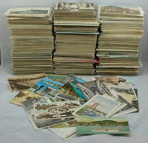100-Vintage-Postcards-Collection-UK-amp-Foreign-Topo-B-W-Colour-Joblot-Used-Only
