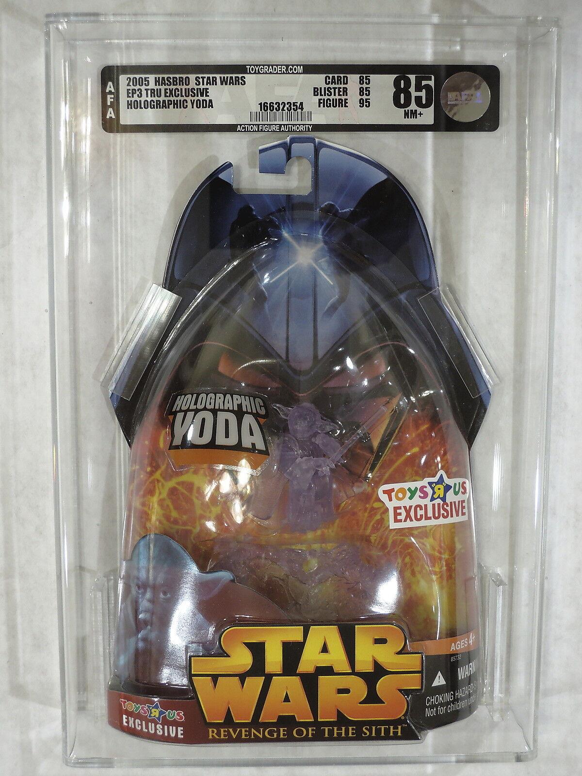 2005 Star Wars ROTS TRU Exclusive Jedi Master HOLOGRAPHIC YODA Figure  AFA 85