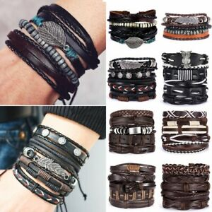 Father-039-s-Day-Leather-Bracelets-Set-Punk-Wrap-Braided-Wristband-Men-Cuff-Bangle