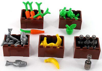 Karotten NEU LEGO Minifigur Gärtner mit Mistgabel und Gemüsekorb Äpfel