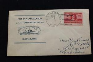 Marine-Abdeckung-1949-Schiff-Stempel-1ST-Tag-Postal-Svc-Uss-Greenwood-DE-679
