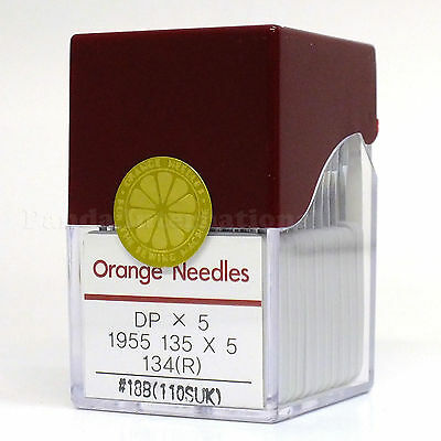 R Needles Size 18B Industrial Machine Juki Singer 100 Orange DPX5 135 x 5 134