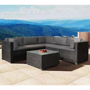 Details zu Gartenmöbel Polyrattan Lounge Gartenset Schwarz Sitzgruppe  Nassau ArtLife®