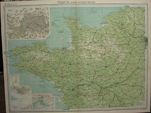 Le Havre Vintage Map 1922 Brest FRANCE North West; Inset of Paris