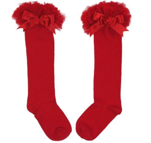 GIRLS  DESIGNER SPANISH RED LONG SOFT TUTU FRILLY SOCKS WITH  SATIN BOW