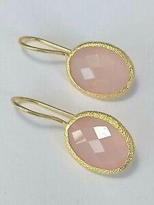 Calcedon-rosa-Ohrringe-925-Silber-vergoldet