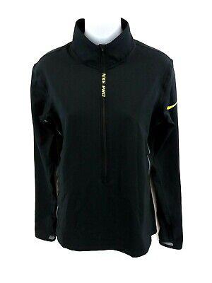 Gentile Nike Pro Da Donna Maglione Pullover L Large Nero Poliestere 1/2 Zip Sottile- Ottima Qualità