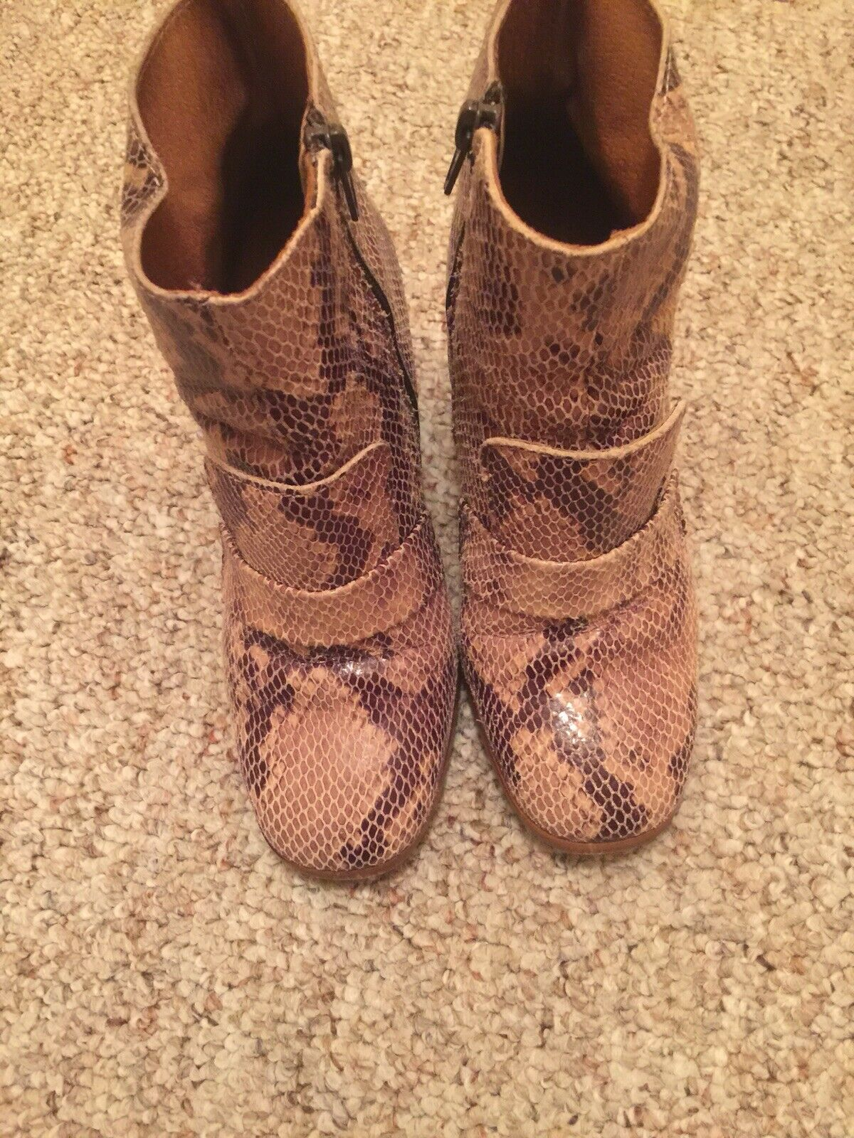 Topshop Made In Spain Python Pattern Ankle Boots, Size 37