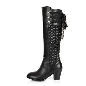 Womens-Genuine-Leather-Shoes-Med-Block-Heels-Zip-Up-Knee-High-Boots-AU-Size-b949