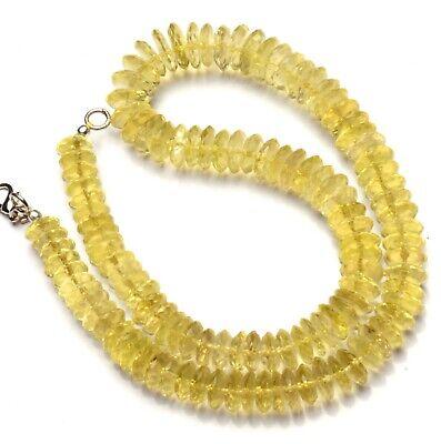 1275 Cts.Beautiful Natural Lemon Quartz Rondelle Faceted Beads Necklace-Lemon Quartz Rondelle Faceted Necklace,13-28 mm 16-NL111