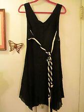 Can Cun Mexico - Black Dress w/Braided Belt -  Asymmetrical Hemline  -  Size S