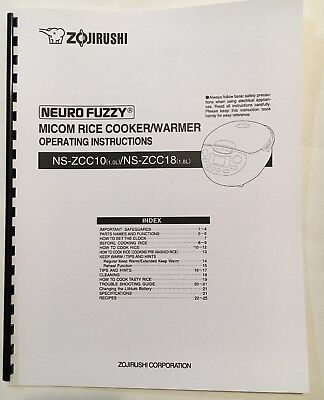 Zojirushi rice cooker ns zcc10 users manual nszcc00.