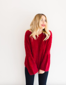 LC-Lauren-Conrad-Women-s-Size-Medium-Fuzzy-Bell-Sleeve-Sweater-Red-Soft