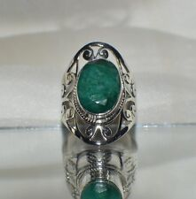 GLAMOROUS 7.00 ct. GENUINE  NATURAL AFRICAN  EMERALD .925 STERLING  SILVER RING