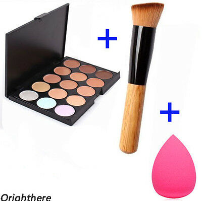 15 Color Face Cream Makeup Concealer Palette + Sponge Puff Powder Brush OE~