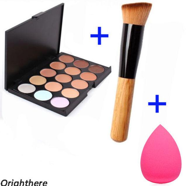 15 Colors Face Cream Makeup Concealer Palette + Sponge Puff Powder Brush XZ