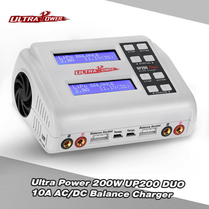 Ultra Power Up200DUO DUAL AC DC 10A 200W Lipo Nim Fast Peak Charger Ny