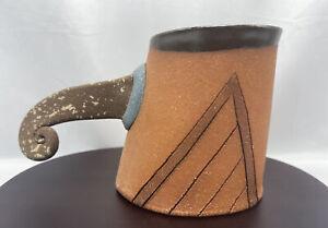 Art Pottery Mug Handmade and Designed, Unique handle signed Johnston