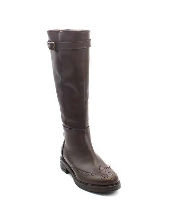 Mally 5960 Brown Leather   Zipper   Mid-Calf Buckle Oxford Boots 35   US 5