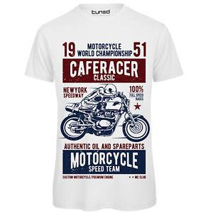 T-Shirt-Divertente-Uomo-Maglietta-con-Stampa-Motori-Moto-Vinatge-Caferacer-Tuned