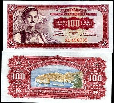 UNCIRCULATED. YUGOSLAVIA 100 DINARA 1955 P 69