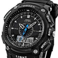 OHSEN Black Waterproof Digital LCD Date Mens Military Sport Rubber Quartz Watch
