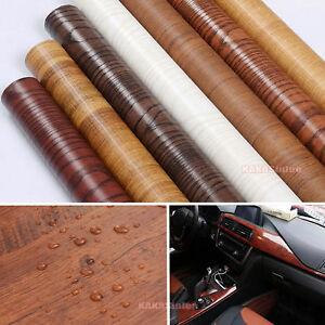 Hot Car Textured Wood Grain Wrap Vinyl Film DIY Furniture Decal Internal Sticker