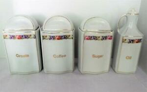 Vintage-Canister-Set-With-Lids-Made-in-Germany-Coffee-Sugar-Groats-amp-Oil