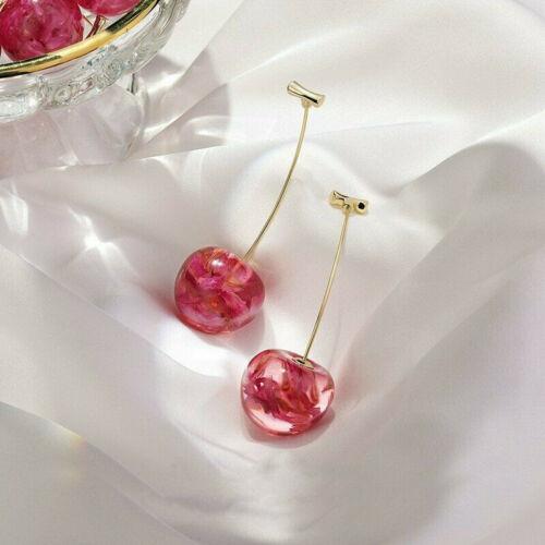 Aretes de mujer de resina simulación de fruta cereza dulce rojo Stud gota colgante moda