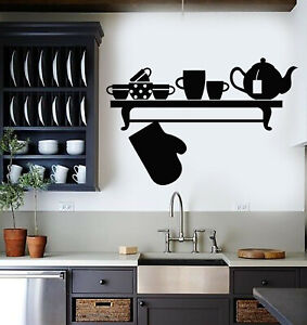 Vinyl-Wall-Decal-Kitchen-Utensils-Interior-Kettle-Potholder-Cups-Stickers-g774