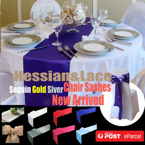 10X-Satin-Table-Runner-Sashes-Cloth-Chair-Cover-Wedding-Event-home-Decoration