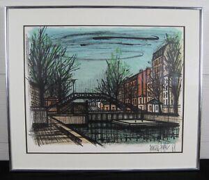 Bernard-Buffet-Canal-St-Martin-Framed-Lithograph-Print-Mid-Century-Art