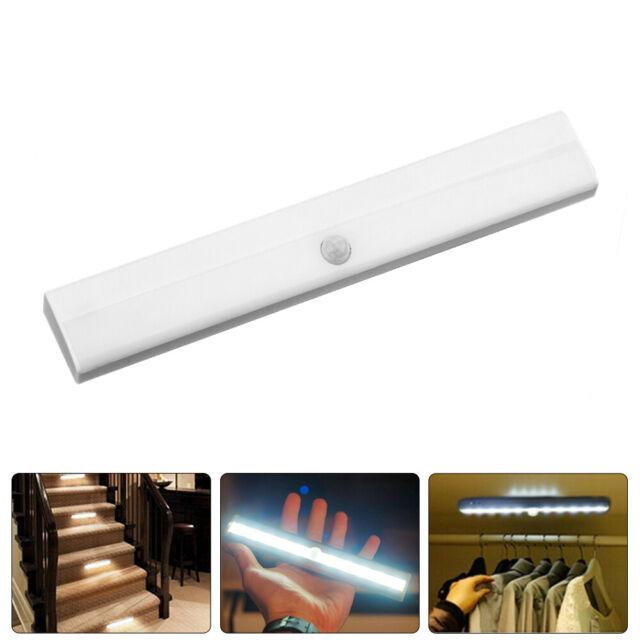 10 LED luz de armario de sensor de movimiento inalámbrico noche gabinete alimentado por batería