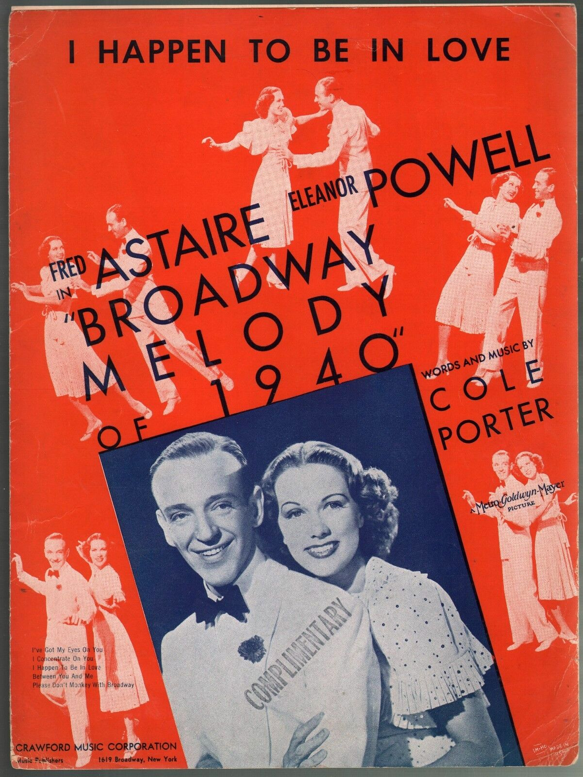I Happen to be In Love Broadway Melody 1940 FROT Astaire-E Powell Sheet Music