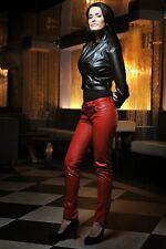 Eco Leather Red Jeans by Soliel Fashions Poland