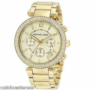 Michael Kors Womens Chronograph Parker Gold tone Stainless Steel Watch MK5354