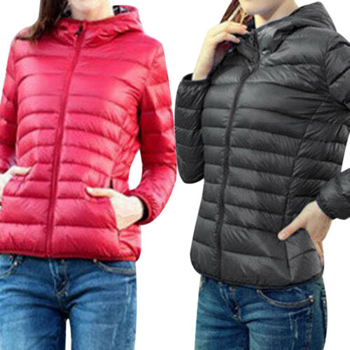Women Quilted Padded Puffer Bubble Winter Lightweight Coat Hooded UK Jacket Warm