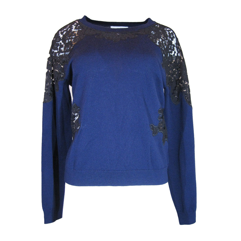 Katherine Kelly. Women's bluee Melissa Lace Knit Sweater, Size-M