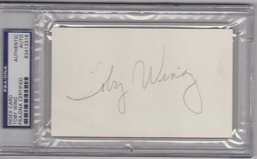Toby Wing Actress Showgirl signed 3x5 Index Card PSA/DNA Slabbed auto