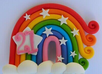 3D edible RAINBOW 15cm cake topper decoration clouds ...