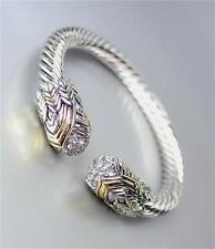 UNIQUE Designer Silver Cable Gold Balinese Filigree CZ Crystals Cuff Bracelet