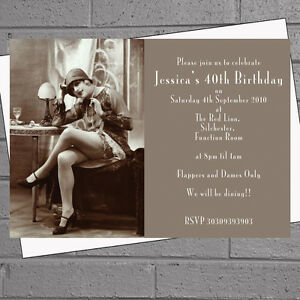 1920s Flapper Girl Dames Birthday Party Invitations x 12 +envs H1018