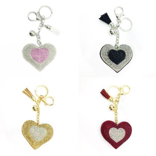 LC/_ Heart Crystal Rhinestone Keychain Keyring Handbag Pendant Key Chain Gift H