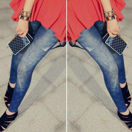 Women Skinny Leggings Slim Denim Look Jeans Jeggings Stretchy Pants Trousers New