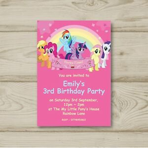 My little pony birthday party invitations personalised ebay image is loading my little pony birthday party invitations personalised filmwisefo