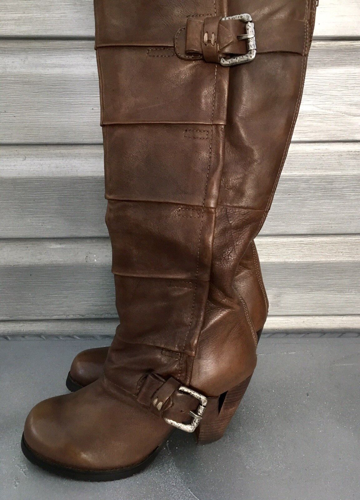 MIZ MOOZ Soren Brown Leather Buckle Harness Boots