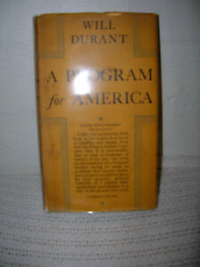 A-Program-For-America-By-Will-Durant-1931-First-Edition-w-Dust-Jacket-RARE